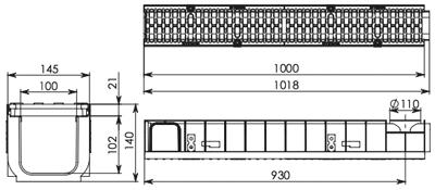 Водоотводный канал пластиковый Супер DN100 ЛВ