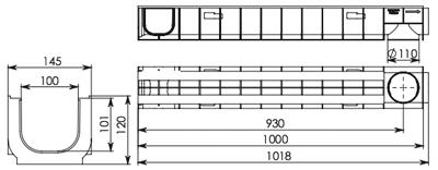 Лоток водоотводный пластиковый DN100 ЛВ 10.14,5.12