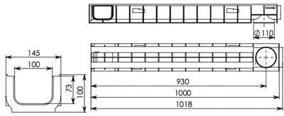 Лоток водоотводный пластиковый DN100 ЛВ 10.14,5.100
