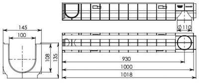Пластиковый дренажный лотокDN100 ЛВ 10.14,5.13,5